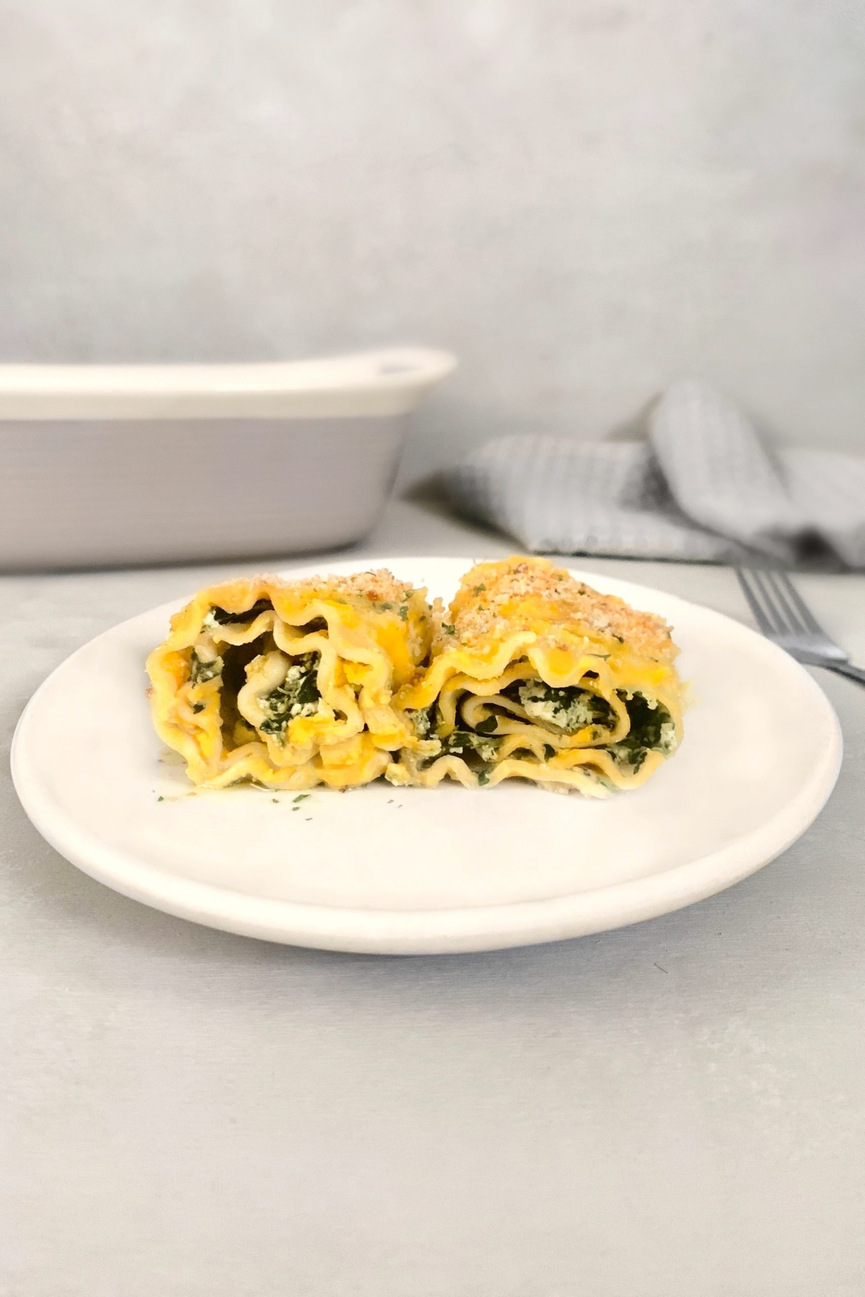 Lasagnes roulées au tofu et aux épinards