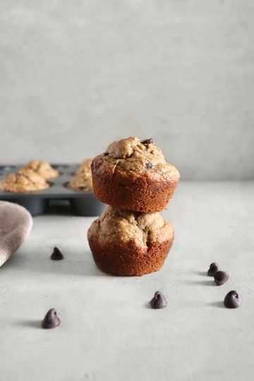 Muffins aux bananes et aux brisures de chocolat vegan